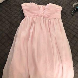 Donna Morgan light pink chiffon bridesmaid dress